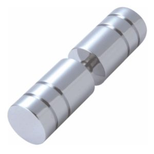 Ribbed Cylindrical Solid Brass Knob - Back to Back