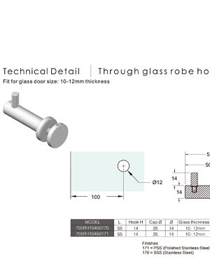 Through Glass Robe Hook Richelieu Glazing Supplies